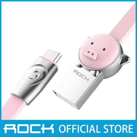 Rock Chinese Zodiac Micro-USB flat Data Cable 1M Pig Pink RCB0531
