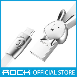 Rock Chinese Zodiac Micro-USB flat Data Cable 1M Rabbit White RCB0531