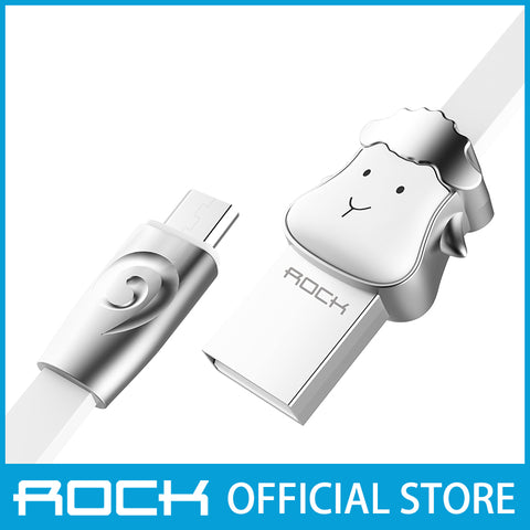 Rock Chinese Zodiac Micro-USB flat Data Cable 1M Sheep White RCB0531