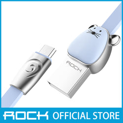 Rock Chinese Zodiac Micro-USB flat Data Cable 1M Mouse Blue RCB0531
