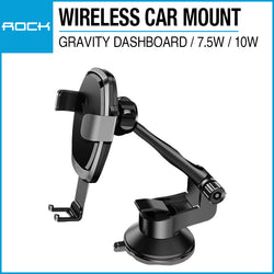 Rock Wireless Charging Gravity Dashboard Car Mount 7.5W/10W Gray RWC0246