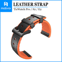 Mobvoi Hybrid Leather Strap for TicWatch Pro / TicWatch S2 / TicWatch E2 Genuine Leather Watch Band Black / Orange