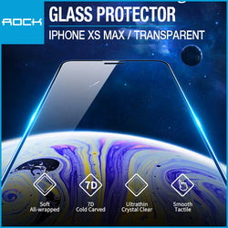Rock 7D Full Coverage Ultrathin Tempered Glass Screen Protector with Soft Edge 0.23mm Transparent for iPhone XS Max