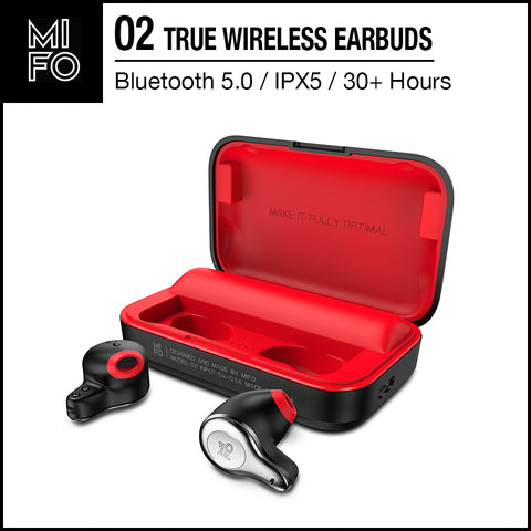 Mifo O2 TWS Bluetooth Stereo Earbuds True Wireless Earbuds Bluetooth 5.0 IPX5 Waterproof Intelligent Noise Reduction Black