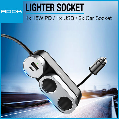 Rock Car Cigarette Lighter Socket PD Black RCC-0137