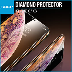 Rock 9D Diamond Tempered Glass Protector 0.3mm Full Coverage for iPhone X / XS
