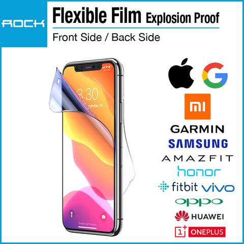 Rock Flexible Explosion-proof Film Screen Protector for iPhone Samsung Huawei Honor Xiaomi Google Oppo Vivo Oneplus Garmin Amazfit Fitbit
