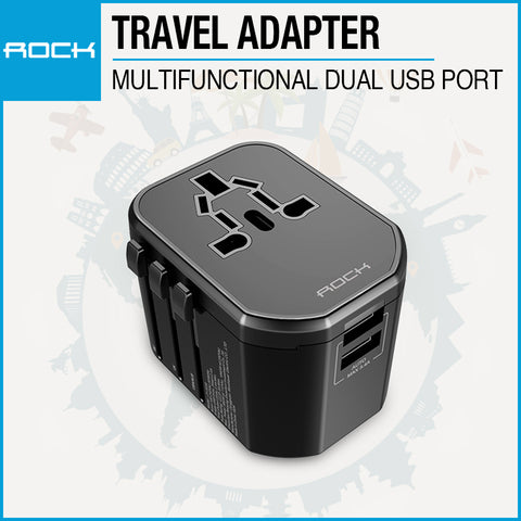 Rock Multifunctional Plug Travel Charger Black JY-303S