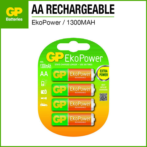 GP EkoPower NiMH AA Rechargeable Battery 1300mAh 4pcs