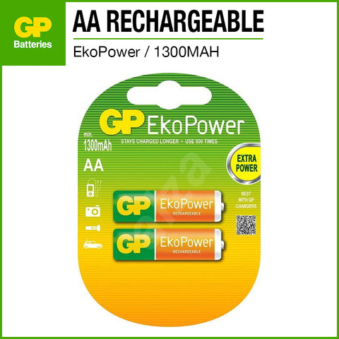 GP EkoPower NiMH AA Rechargeable Battery 1300mAh 2pcs