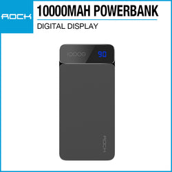 Rock P38 Powerbank with Digital Display 10000mAh Gray