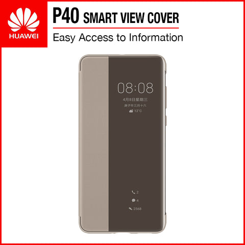 Huawei P40 Smart View Flip Cover Khaki
