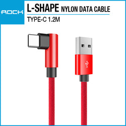 Rock L-shape Type-C Nylon Data Cable 1.2M Red RCB0602