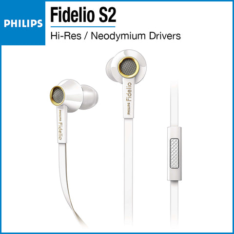 Philips Fidelio S2 Hi-Res Headphones with Mic White