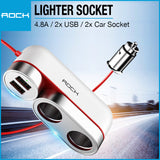 Rock Car Cigarette Lighter Socket 4.8A White RCC-0136