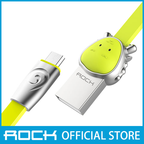 Rock Chinese Zodiac Micro-USB flat Data Cable 1M Dragon Green RCB0531