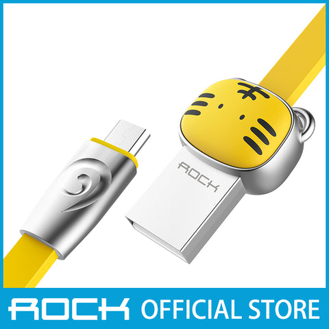 Rock Chinese Zodiac Micro-USB flat Data Cable 1M Tiger Yellow RCB0531