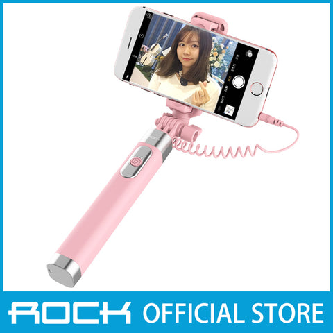 Rock Selfie Stick with Wire Control & Mirror II Pink ROT0769