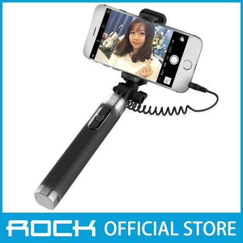 Rock Selfie Stick with Wire Control & Mirror II Black ROT0769
