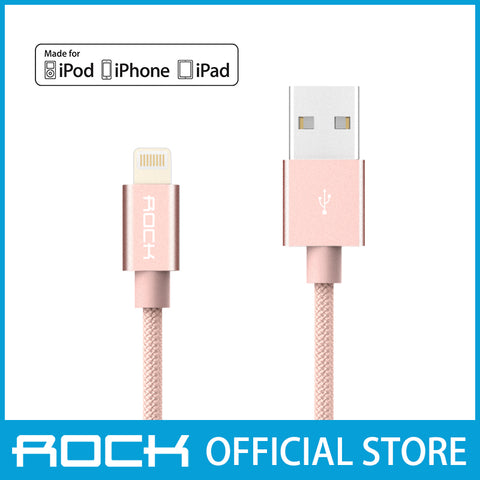Rock MFI Lightning Nylon Data Cable 30CM Rose Gold