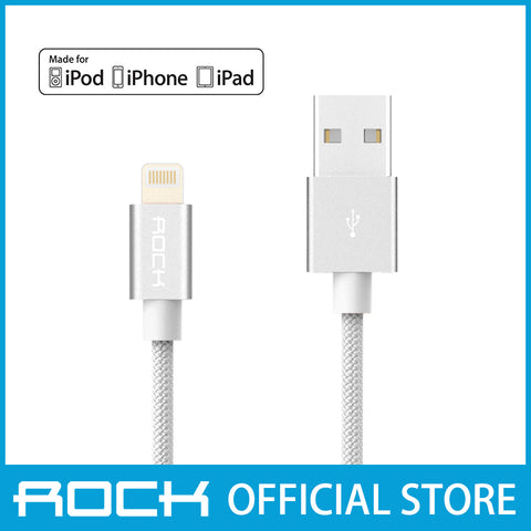 Rock MFI Lightning Nylon Data Cable 1M White