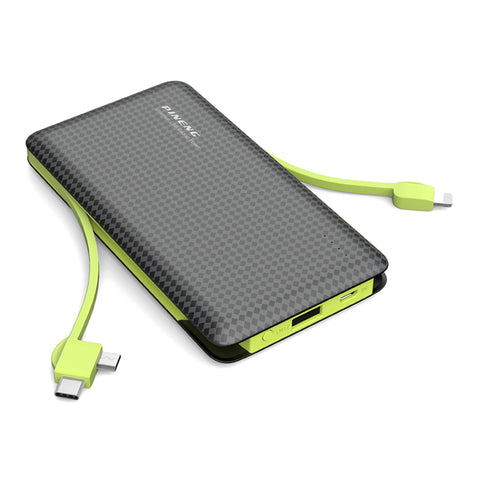 Pineng Powerbank with Built-in Cable Micro-USB Type-C iOS Lightning 10000mAh Black/Green PN-956