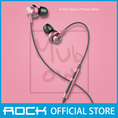 Rock Mubow Stereo Earphone Rose Gold RAU0567