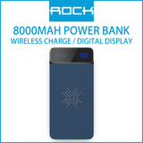 Rock P38 Wireless Charging Power Bank with Digital Display 8000mAh Blue