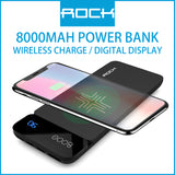 Rock P38 Wireless Charging Power Bank with Digital Display 8000mAh Gray
