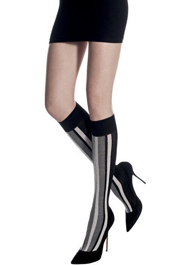 Cotton striped knee high
