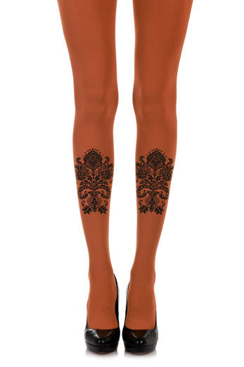 Orange Paisley Print Opaque Tights