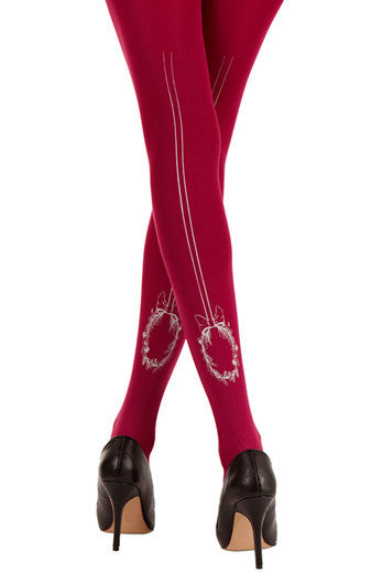 Pink Happy Tail Print Opaque Tights