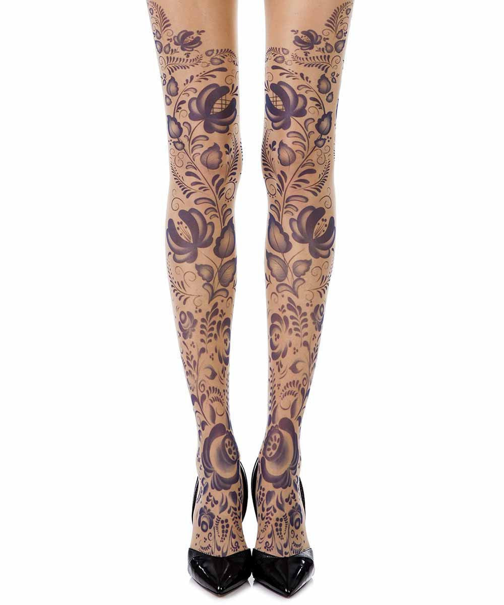 Blue Orchid skin sheer print tights