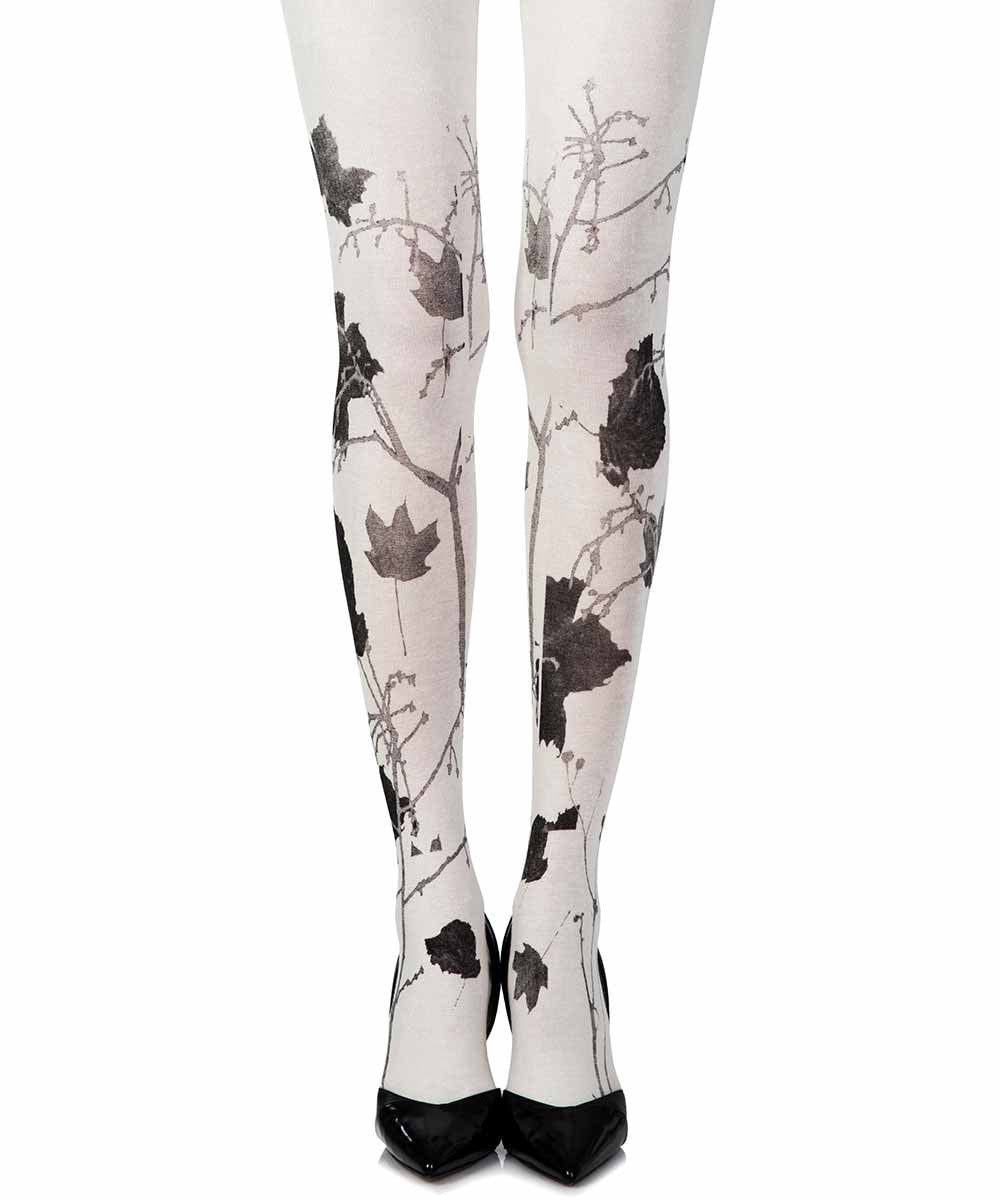 Cream Autumn Leaves Woman Tights