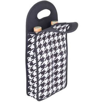 Neoprene Double Wine Bottle Tote - Houndstooth