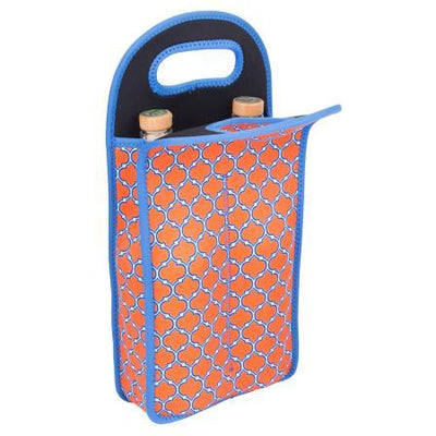 Neoprene Double Wine Bottle Tote - Orange & Blue