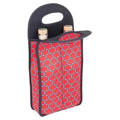 Neoprene Wine Tote Double Bottle - Red & Black