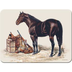 Horse w/Saddle Tempered Glass Cutting Board