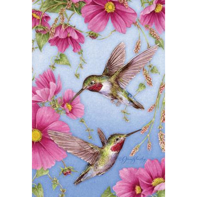 Hummingbirds in Pink House Flag
