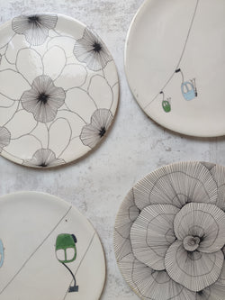 Outlet #175-ASSIETTES-Three Seven Paris- Ceramic Plates, Platters, Bowls, Coffee Cups. Animal Designs, Zebra, Flamingo, Elephant. Graphic Designs and more.