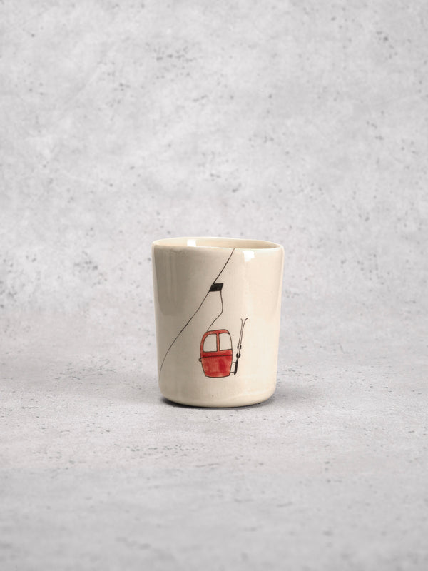 Grande timbale Ski Lift Rouge-TIMBALES-Three Seven Paris- Ceramic Plates, Platters, Bowls, Coffee Cups. Animal Designs, Zebra, Flamingo, Elephant. Graphic Designs and more.
