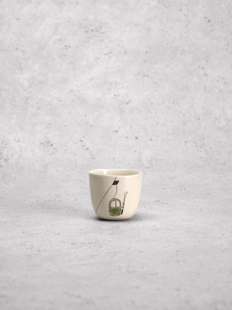Tasse à espresso Ski Lift Vert-TASSES-Three Seven Paris- Ceramic Plates, Platters, Bowls, Coffee Cups. Animal Designs, Zebra, Flamingo, Elephant. Graphic Designs and more.