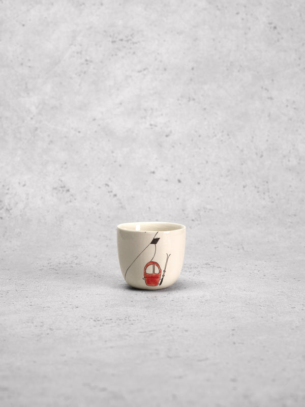 Tasse à espresso Ski Lift Rouge-TASSES-Three Seven Paris- Ceramic Plates, Platters, Bowls, Coffee Cups. Animal Designs, Zebra, Flamingo, Elephant. Graphic Designs and more.