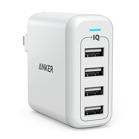 Anker 40W 4-Port USB Wall Charger, PowerPort 4 for iPhone 7 / 6s / Plus, iPad and more