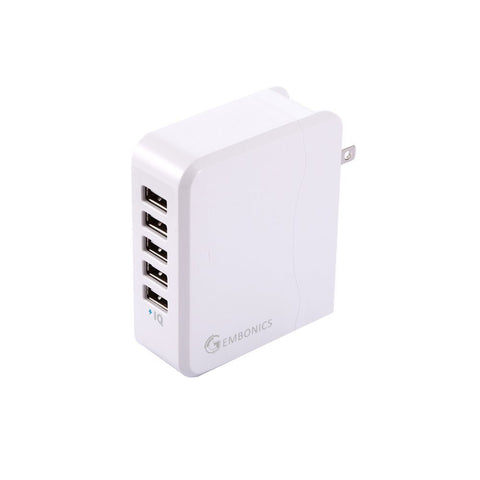 Multi USB Wall Charger 5-Port 36W Auto Detect Travel Adapter