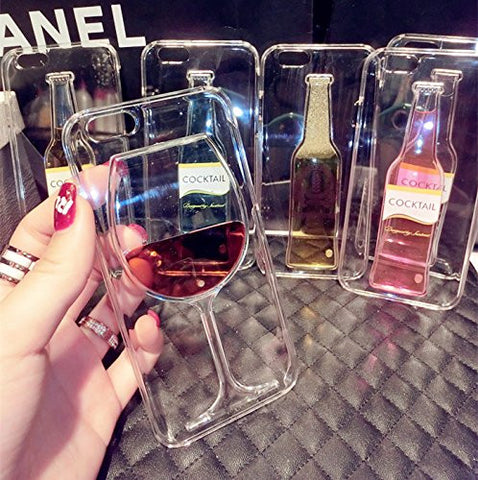Hot Red Wine Glass Liquid Transparent Phone Case For iPhone 7, 7 Plus, 6, 6S, 5S, 5C, 4S, 4
