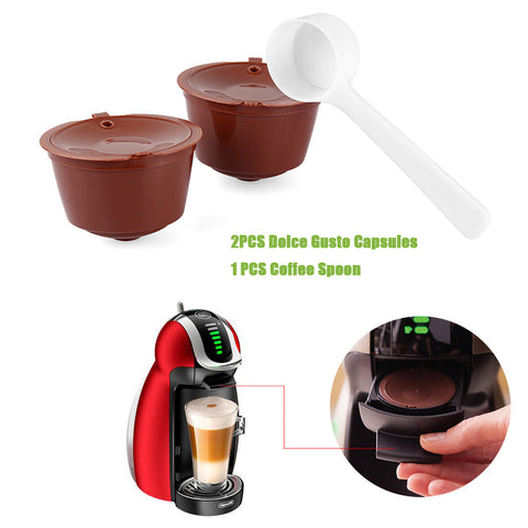 2Pcs Refillable Dolce Gusto Coffee Capsule With 1Pcs Coffee Spoon