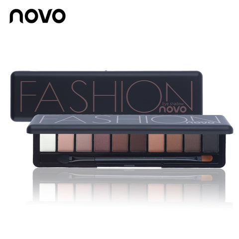 10 Colors NOVO Brand Fashion Shimmer Matte Eye Makeup Palette -  Cosmetics Set With Brush