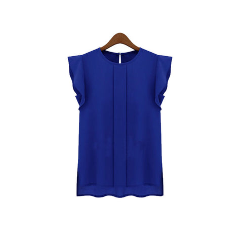 Chiffon Clothing Women Blouses - Ruffle Short Sleeve Tops Blouse  Available in 3 Colors