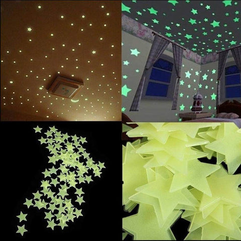 100pcs/lot 4 Color Stars Luminous Fluorescent Glow Wall Stickers for Kids Bedroom. Best Home Decor